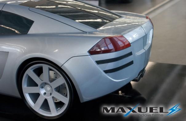 Rear of silver scale model sports car